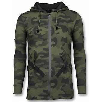Casual Vest-Long Fit Camouflage Vest-Khaki