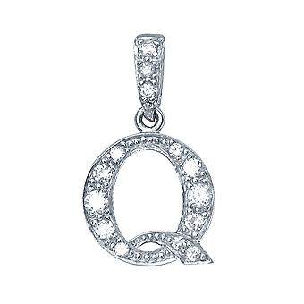 Jewelco London Rhodium Plated Sterling Silver Round Brilliant Cubic Zirconia Letter Q Initial Pendant Necklace