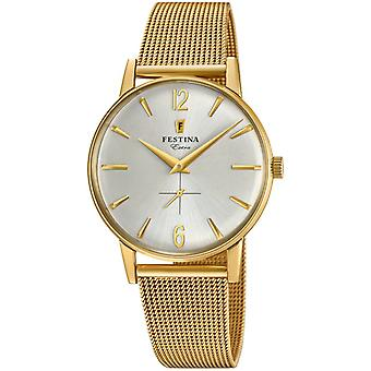 Extra Quartz Analog Man Watch Festin with F20253/1 Gold Plated Stainless Steel Bracelet