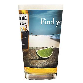 Corona Extra Beach Print Pint Glass