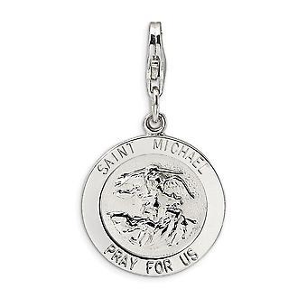 925 Sterling Sølv poleret Fancy Hummer Lukning Saint Michael Medal Med Hummer Lås Charm Pendant Halskæde Foranstaltning