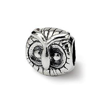 925 Sterling Silver Polished Reflections SimStars Owl Head Bead Charm Pendant Necklace Jewelry Gifts for Women