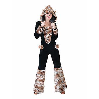 Schneekatze Lady Kostüm Damen Wildcat Tierkostüm Schneeleopard Damenkostüm Jumpsuit Karneval Fasching