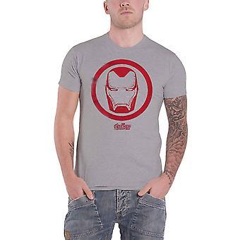 Iron Man T Shirt Helmet Icon Logo new Official Marvel Mens Grey