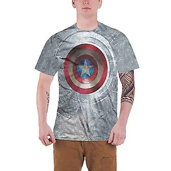 Captain America T Shirt Civil War Shield Official Marvel sub dye mens new