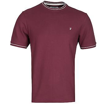 Farah Liverpool modern fit honingraat Bourgondië T-shirt