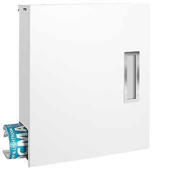 Boîte aux lettres design moderne avec boîte de journal et poignée en acier inoxydable blanc de box 135 MOCAVI (RAL 9003)