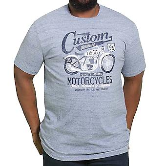 Duke D555 Homme Big Tall Memphis Custom Motorbike Short Sleeve T-shirt Tee - Bleu