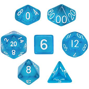 7 Die Polyhedral Dice Set  in Velvet Pouch- Translucent Blue