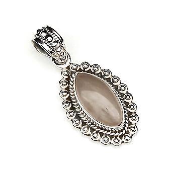 Rose quartz pendant 925 sterling silver chain pendant medallion pink (120-07)