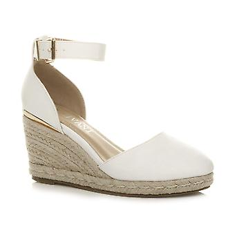WOMENS LADIES MID WEDGE HEEL BUCKLE UP ANKLE STRAP ESPADRILLE SANDALS SIZE