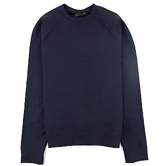 Emporio Armani Logo-embossed Cotton-jersey Jumper Navy