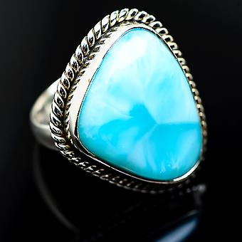 Large Larimar Ring Size 6.25 (925 Sterling Silver)  - Handmade Boho Vintage Jewelry RING985915