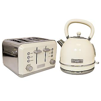 Charles Bentley Cream 3kW 1.7 Kettle And 4 Slice Toaster Set New