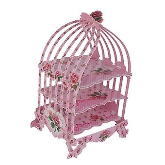 Vintage Style Birdcage Thème Foldable Cardboard 3-Tier Cupcake Stand