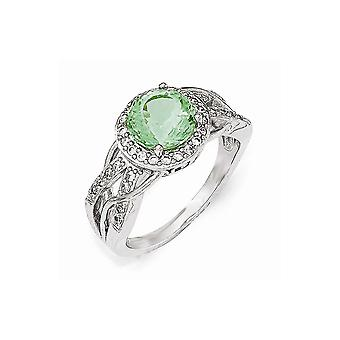 Cheryl M 925 Sterling Silver Cubic Zirconia et Simulated Paraiba Tourmaline Faceted Ring Jewelry Gifts for Women - Ring