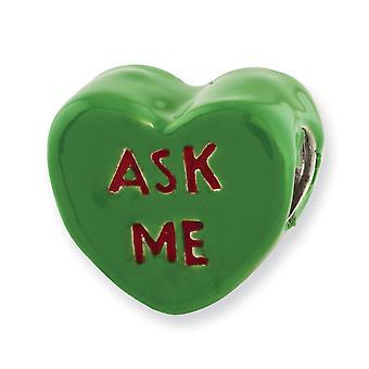 925 Sterling Silver Reflections Kids Ask Me Enameled Love Heart Bead Charm Pendant Necklace Bijoux Cadeaux pour les femmes