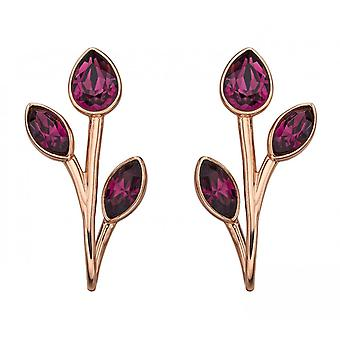 Joshua James Radiance Silver With Rose Gold Plating & Amethyst Swarovski Crystal Leaf Drop Earrings