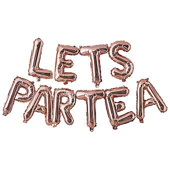 Rose Gold Lets Partea Afternoon Tea Party Balloon Bunting