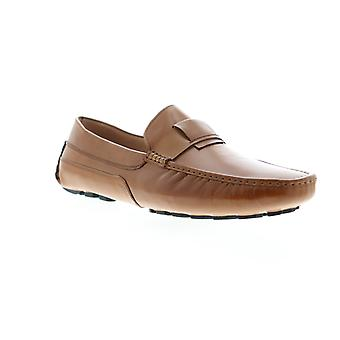 Zanzara Newton  Mens Brown Leather Casual Slip On Loafers Shoes