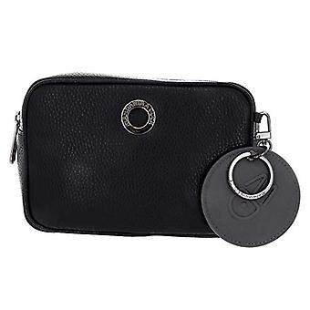 الماندرين بطة يانع الجلد الأسود حقيبة حزام المرأة (أسود) 6x12x18 سم (W x H x L)