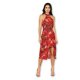 AX Paris Women's Red Floral Wrap Skirt Cut in Neck, Floral Red, Size 8.0