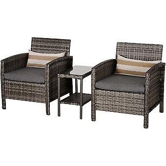 Outsunny 3 Pcs Pe Rattan Set 2-Tier Table Glass Top 2 Armchair Seat Bolster Cushion High Back Armrests Outdoor Garden Furniture Grey