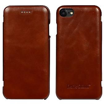 For iPhone SE(2020), 8 & 7  Case,Fierre Shann Genuine Protective Leather Flip Cover,Brown
