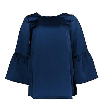 Du Jour Women's XXS Bell Sleeve Tunic Back Keyhole Detalhe azul não identificado
