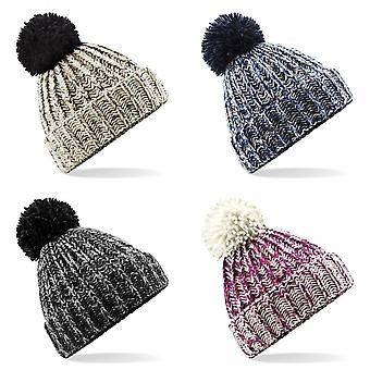 Beechfield Unisex Twist-Knit Pom Pom Winter Beanie Hat