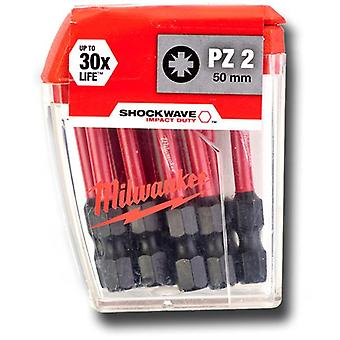Milwaukee 4932472050 SHOCKWAVE PZ2 50mm Screwdrver Bits 10pc