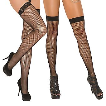 Womens Fishnet Thigh High Pack- Plain Top Fishnet Stockings and Lace Top Stockings