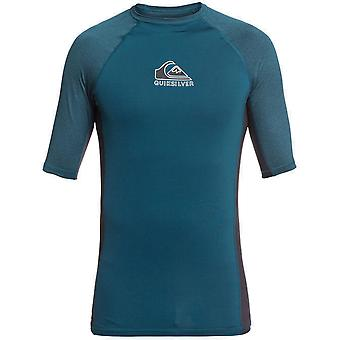 Quiksilver Backwash Korte Mouw Rash Vest in Majolica Blue Heather