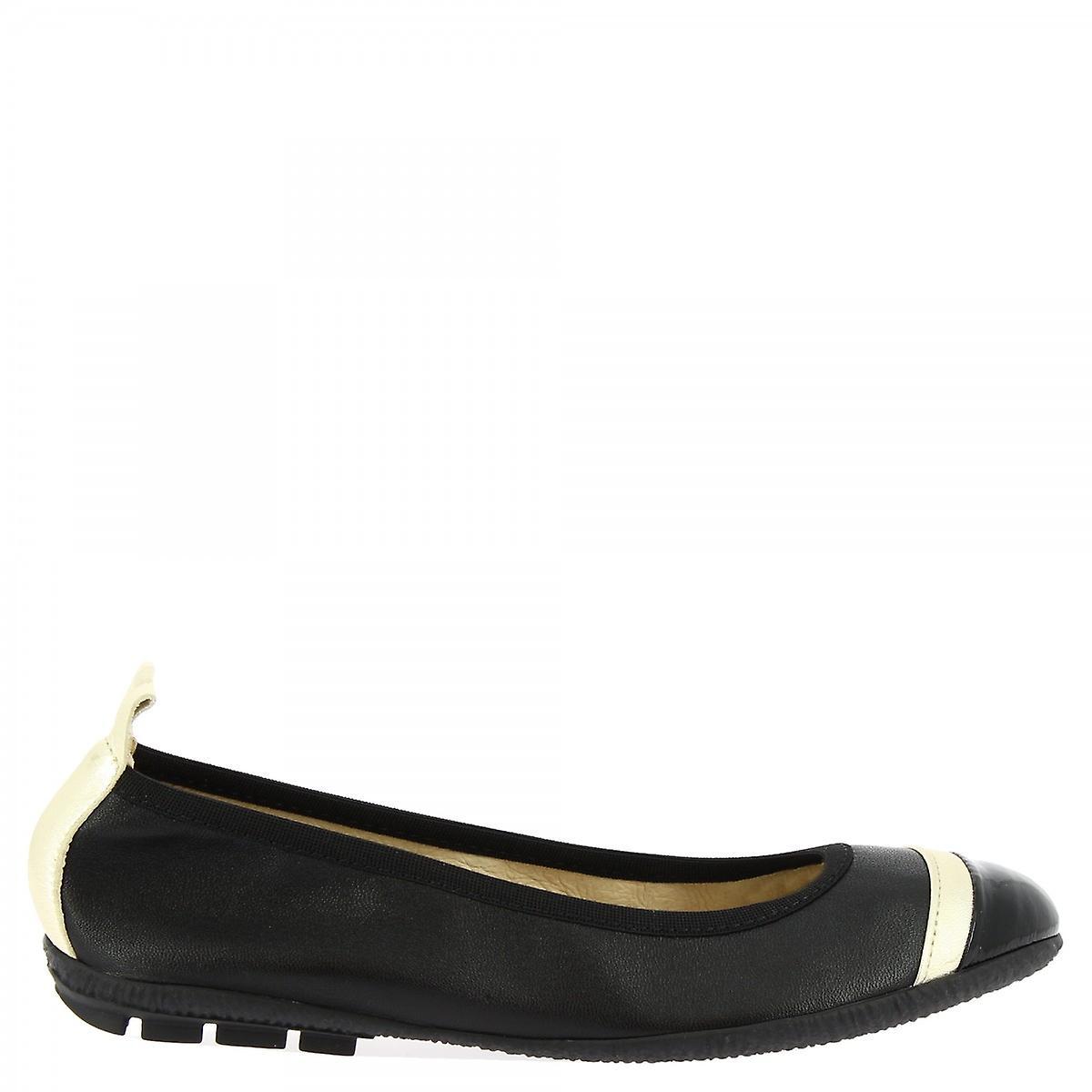 Leonardo Shoes Women's Handmade Ballet Flats Black Napa Leather White Band