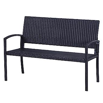 Outsunny 2 Seater Rattan Garden Bench Wicker Weave Love Seater Armchair Outdoor Garden Patio Conservatory Furniture