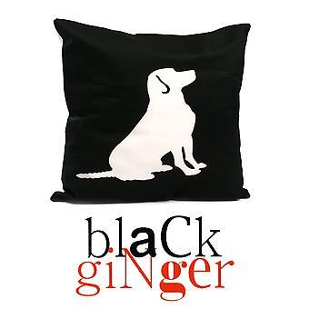 Black GingerWhite Obedient Dog on Black Cushion 43cm x 43cm (800-085)