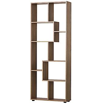 HOMCOM 8-Tier Freestanding Bookcase w/ Melamine Surface Anti-Tipping Foot Pads Home Display Storage Grid Stand Bedroom Living Room Furniture Modern Style - Natural