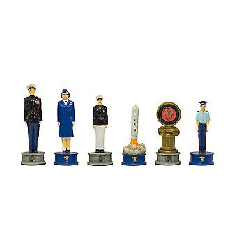 The Air Force Vs Marines Hand painted themed chess pieces by Italfama