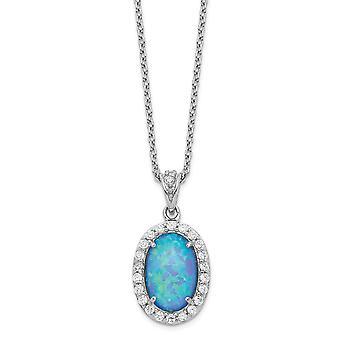 11.97mm Cheryl M 925 Sterling Silver Cubic Zirconia Lab Simulado Colar opala azul 18.5 polegadas presentes de jóias para mulheres
