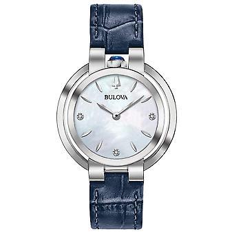 بولوفا 96P196 المرأة & apos;s روباييات الماس الأزرق حزام ساعة اليد