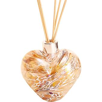 Amelia Art Glass Heart Shaped Reed Diffuser Gold & White Crackle