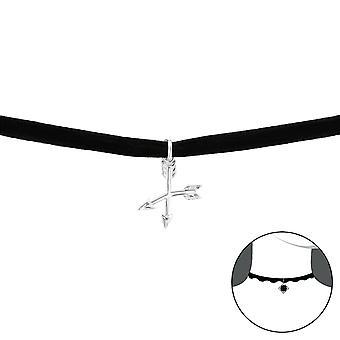 Arrow - 925 Sterling Silver + Velvet Chokers - W33994x