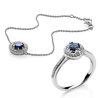 Orphelia Silver 925 Bracelet and Ring With Zirconium and Blue Stone