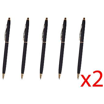 10x Black & Silver Ballpoint Pen Stainless Steel Biro Black Ink