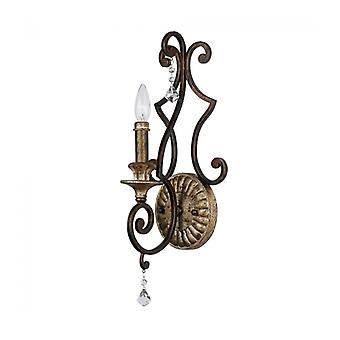 Marquette Wall Lamp, Bronze And Crystal, 1 Bulb