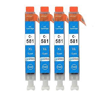 4 syaani mustekasettia Canon CLI-581C -yhteensopivan/ei-OEM-laitevalmistajan korvaamiseksi Go Inksistä