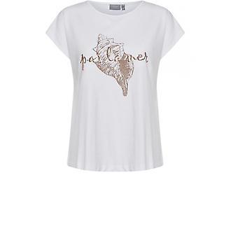 b.young White Shell Design T-Shirt