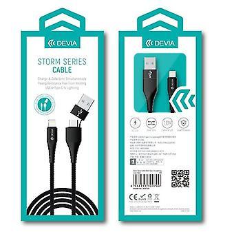 Devia Storm 2i1 USB/USB-C till Lightning 2,4A Laddningskabel -1m