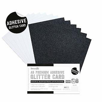Dovecraft Klebstoff Glitter Blätter A5 schwarz & Weiß
