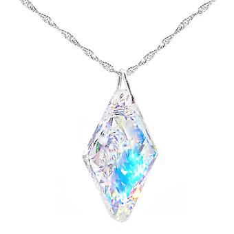 GIFT BOXED! Ah! Jewellery Aurore Boreale 26mm Rhombus Crystals From Swarovski Necklace. Sterling Silver, Stamped 926